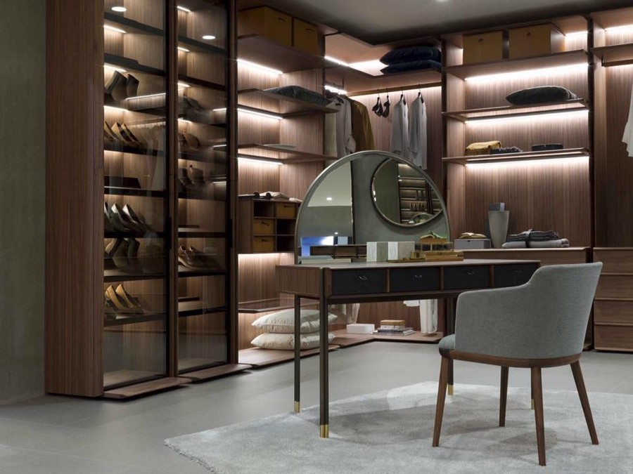 3-5-Porada-new-collection-of-contemporary-style-furniture-at-Salone-de-Mobile-Exhibition-Milan-2017-dressing-table-chair-set-closet-system-shoe-storage-LED-lights-backlit