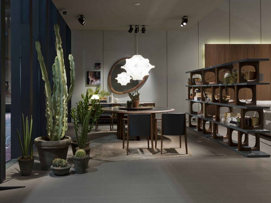 3-7-Porada-new-collection-of-contemporary-style-furniture-at-Salone-de-Mobile-Exhibition-Milan-2017-living-room-interior-design-huge-floor-bug-flower-pots-cacti-dining-table-chairs-set-bookshelves-asymmetrical-mirror-frame