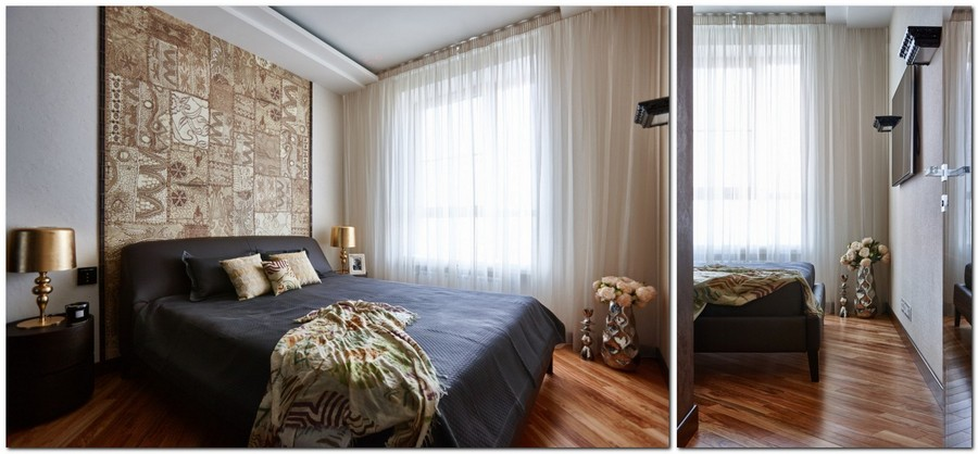 3-contemporary-style-interior-design-bedroom-with-etnical-motifs-golden-bedside-lamps-wall-mural-eye-catchy-chocolate-brown-bed-beige-walls-white-curtains-floor-flower-vase-TV-set-grandma's