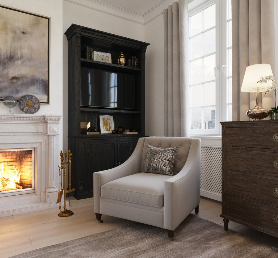 3-gray-beige-dark-brown-bedroom-interior-design-in-American-transitional-style-natural-stone-fireplace-surrounding-arm-chair-bookstand-bookcase-chest-of-drawers-contemporary-artwork-cuartains-window-rug
