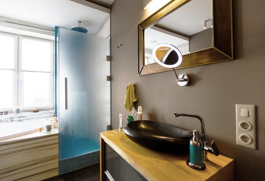 3-modern-bathroom-interior-design-with-walk-in-infrared-home-sauna-white-faux-marble-wall-tiles-acrylic-drop-shaped-bathtub-shower-cabin-azure-blue-tiles-wooden-countertop-black-natural-basalt-sink-wash-basin-mirror-lamp