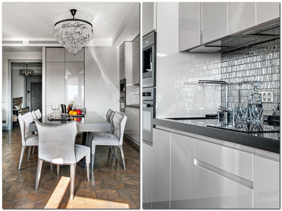 3-open-concept-kitchen-dining-room-in-art-deco-style-monochrome-gray-interior-design-dining-table-chairs-sleek-glossy-cabinets-glass-mosaic-backsplash-tiles-geometrical-mirrored-pattern-chandelier-block-parquet