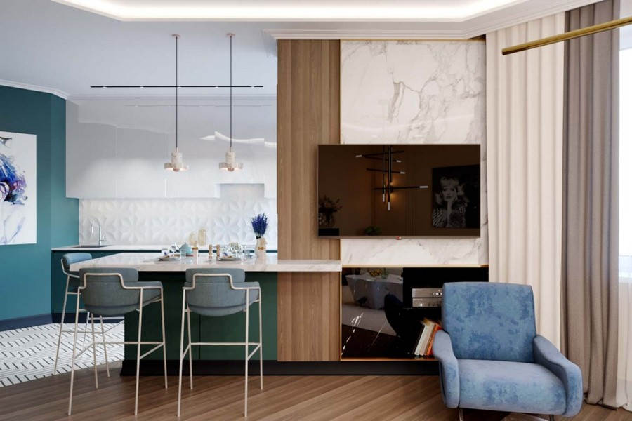4-1-contemporary-style-living-room-open-concept-kitchen-interior-design-beige-walls-Eichholtz-furniture-marble-wall-blue-arm-chair-angled-wall-bar-table-gray-stools-curtains-suspended-lamps-white-cabinets
