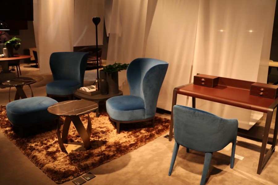 4-2-Potocco-new-collection-of-contemporary-style-furniture-at-Salone-de-Mobile-Exhibition-Milan-2017-blue-velvet-arm-chairs-padded-stool-desk-ottoman-fluffy-rig-brown-shaggy