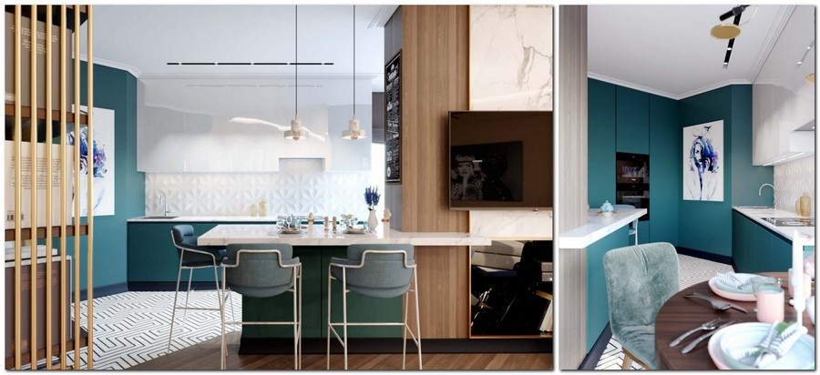 4-2-contemporary-style-open-concept-kitchen-interior-design-blue-walls-marble-wall-angled-wall-bar-table-gray-stools-sleek-glossy-white-and-blue-kitchen-cabinets-3D-backsplash-tiles-diamond-shaped-table-art
