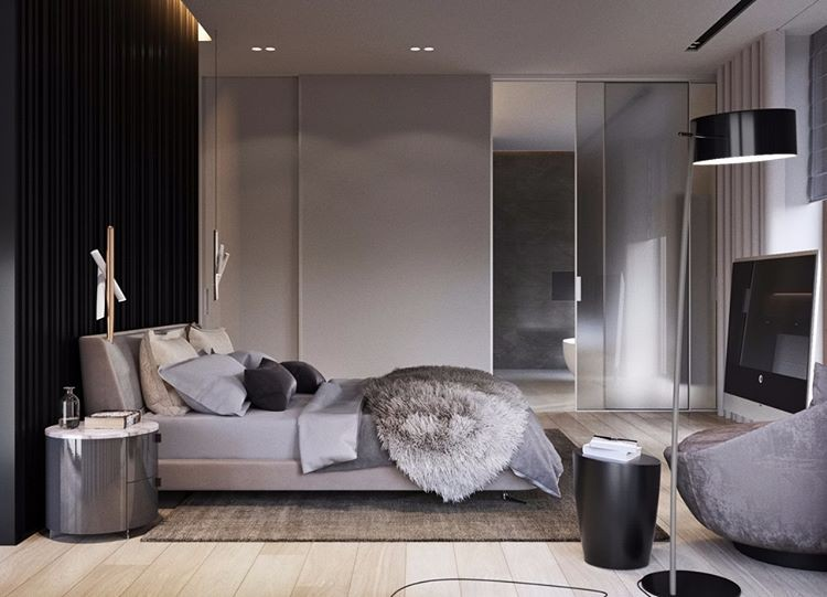 4-bedroom-interior-design-gray-and-black-wall-contemporary-style-matte-glass-sliding-bathroom-exit-door-big-floor-lamp-TV-set-glossy-nightstand-rug-fur-bedspread-arm-chair-geometrical-bedside-lamps
