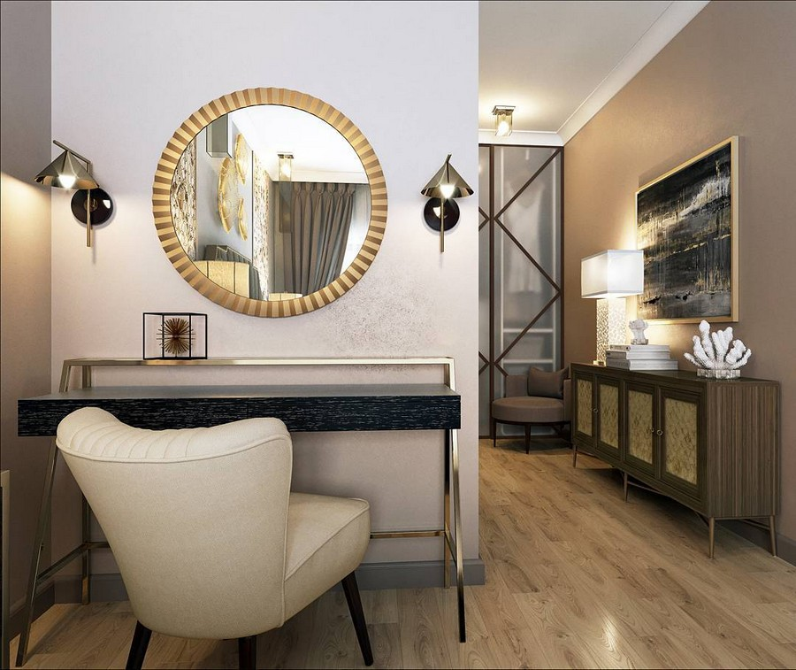 4-contemporary-style-corridor-interior-design-cabinet-picture-table-lamp-artwork-round-golden-mirror-frame-dressing-table-wall-lamps-sconces