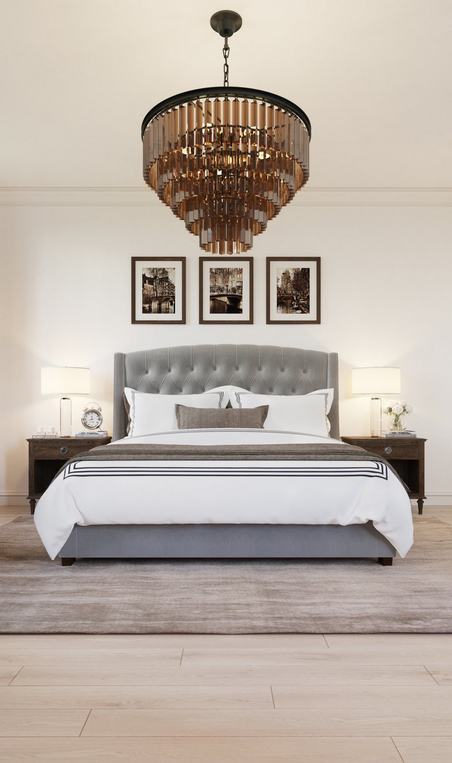4-gray-beige-dark-brown-bedroom-interior-design-in-American-transitional-style-multilayered-chandelier-symmetrical-furniture-arrangement-nightstands-upholstered-bed-capitone-pictures-rug-bedside-lamps