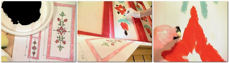 4-hand-painting-furniture-decorating-rustic-ornaments-country-style-patterns-motifs-white-red-ble-flowers-sketch-sponge-acrylic-paint-DIY-idea