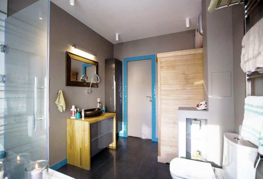 4-modern-bathroom-interior-design-with-walk-in-infrared-home-sauna-glass-shower-cabin-azure-blue-tiles-wooden-countertop-black-natural-basalt-sink-wash-basin-mirror-IKEA-vanity-unit-recessed-shelves-tall-wall-mounted-cabinet
