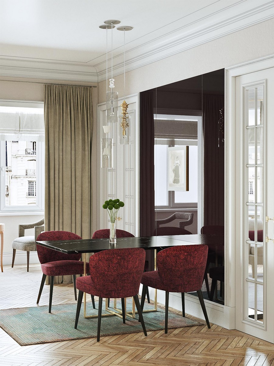 4-modern-neo-classical-style-interior-design-dining-area-room-zone-herringbone-parquetry-floor-big-full-length-mirror-near-table-red-chairs-white-walls-beige-curtains-symmetrical-glass-doors-suspended-lamp-rug