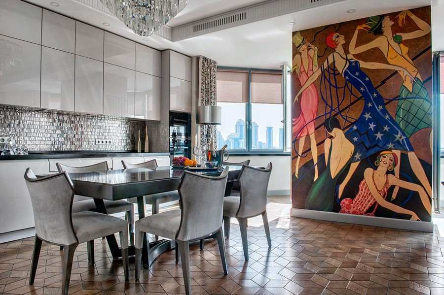 4-open-concept-kitchen-dining-room-in-art-deco-style-monochrome-gray-interior-design-dining-table-chairs-sleek-glossy-cabinets-glass-mosaic-backsplash-tiles-geometrical-mirrored-block-parquet-wall-mural