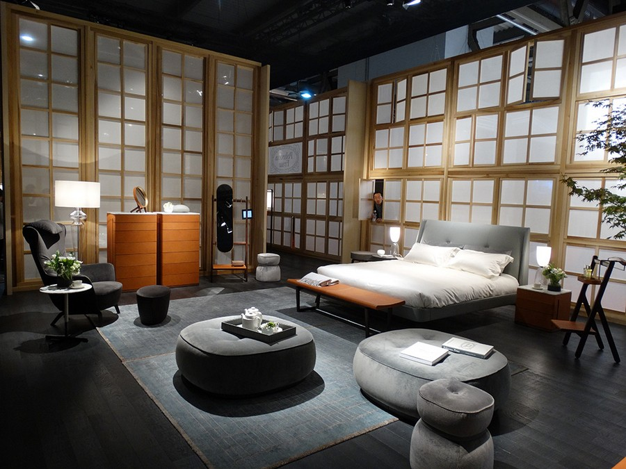 5-1-Poltrona-Frau-new-collection-of-contemporary-style-furniture-at-Salone-de-Mobile-Exhibition-Milan-2017-bedroom-interior-design-gray-upholstered-bed-orange-chest-of-drawers-ottoman-soft-coffee-table-arm-chair-rug-lamp