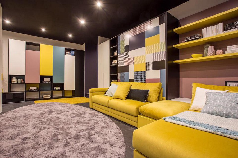 5-1-Tumidei-new-collection-of-contemporary-style-furniture-at-Salone-de-Mobile-Exhibition-Milan-2017-bright-multicolor-living-room-interior-design-walls-yellow-sofa-bookshelves-pink-white-blue-cabinets