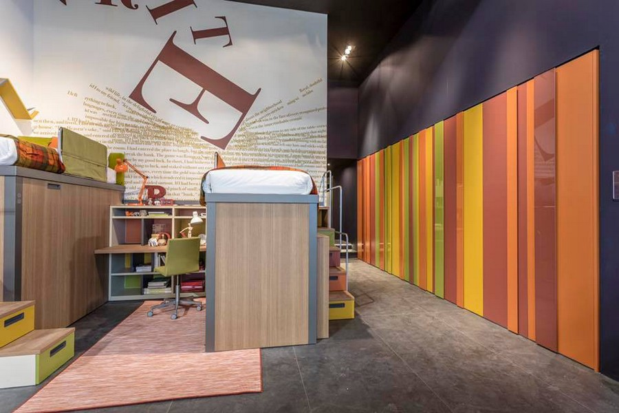 5-2-Tumidei-new-collection-of-contemporary-style-furniture-at-Salone-de-Mobile-Exhibition-Milan-2017-teenage-room-interior-design-bright-multicolor-stripy-wall-bunk-bed-desk-chair