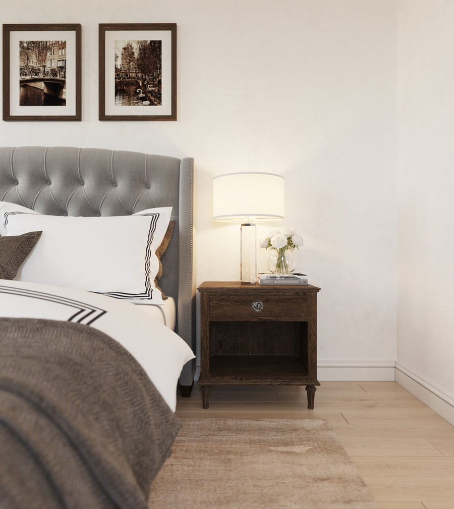 5-5-gray-beige-dark-brown-bedroom-interior-design-in-American-transitional-style-upholstered-capitone-bed-nightstand-pictures-bedside-lamp-rug