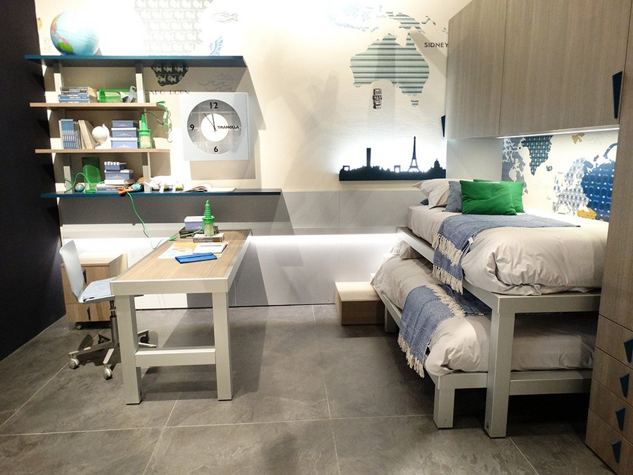 5-7-Tumidei-new-collection-of-contemporary-style-furniture-at-Salone-de-Mobile-Exhibition-Milan-2017-teenage-kids-room-bedroom-interior-design-desk-wheeled-chair-bookshelves-stackable-beds-double-beds-cabinets