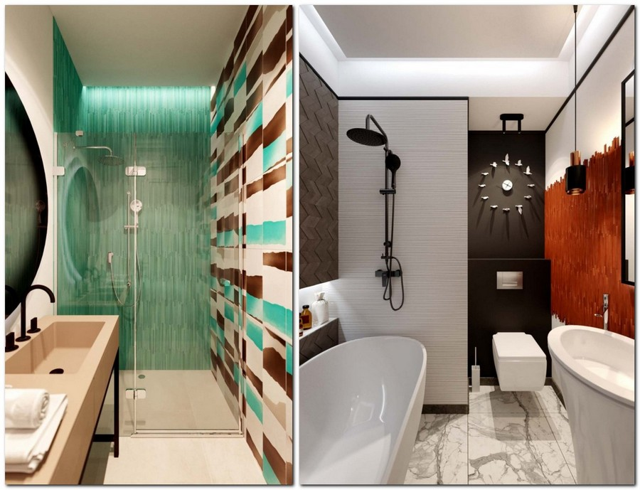 5-contemporary-style-bathroom-interior-design-white-brown-turquoise-wall-tiles-walk-in-shower-glass-cabin-beige-sink-wash-basin-rectangular-seamless-black-water-tap-mixer-orange-black-wall-clock-bathtub-3D