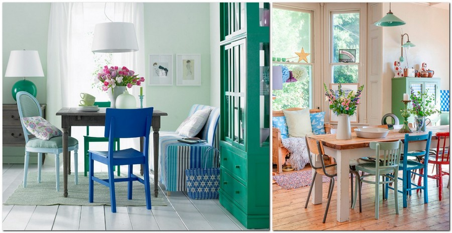 5-dining-room-zone-area-interior-design-mismatched-multicolor-chairs-wooden-tab;e-suspended-lamp-wooden-floor-blue-red-white-green