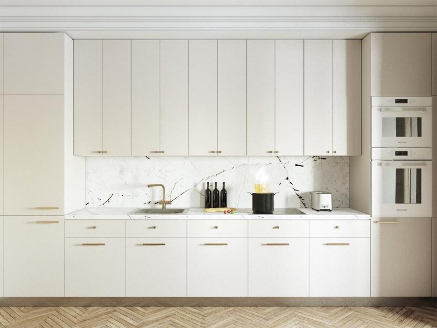 5-modern-neo-classical-style-interior-design-total-white-kitchen-set-cabinets-built-in-appliances-sleek-symmetrical-faux-marble-backsplash-worktop-tiles-light-herringbone-parquet-floor