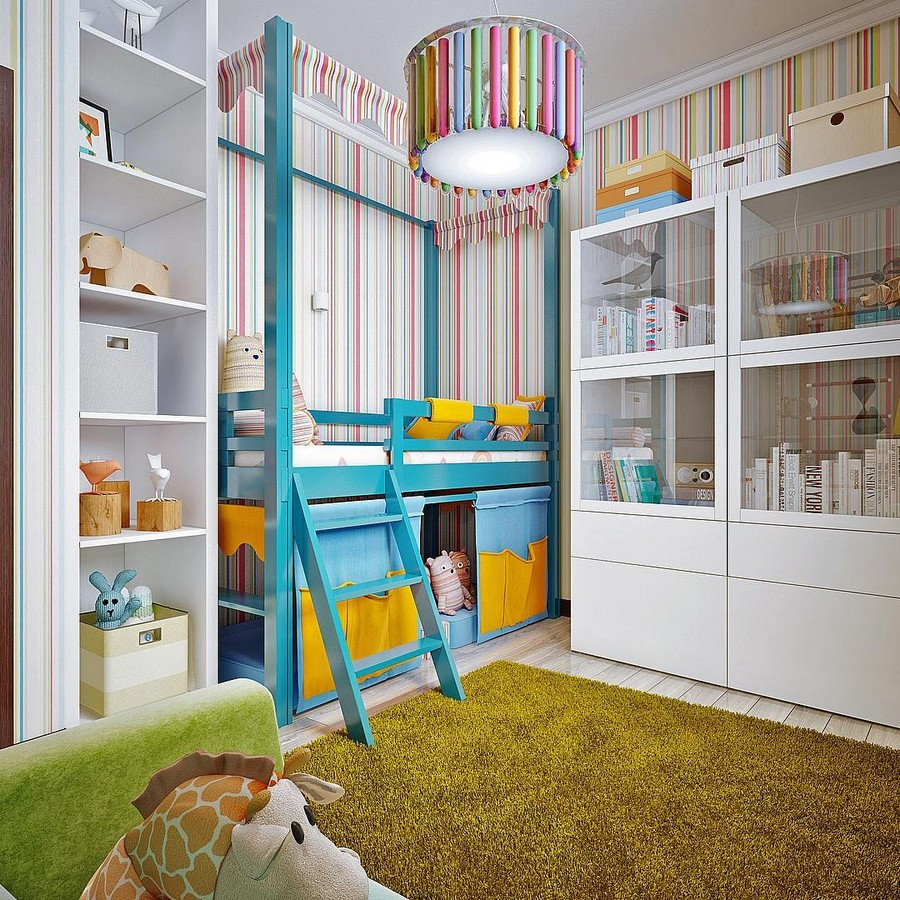 5-toddler-kids-room-bedroom-interior-design-traditional-style-white-furniture-glass-cabinets-open-racks-bookshelves-baskets-low-loft-bed-with-storage-beneath-stripy-wallpaper-blue-pink-yellow-fluffu-green-rug