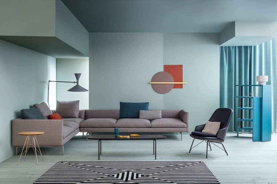 6-6-Zanotta-new-collection-of-contemporary-style-furniture-at-Salone-de-Mobile-Exhibition-Milan-2017-living-room-interior-design-big-gray-corner-sofa-arm-chair-coffee-tab;e-blue-walls-rug