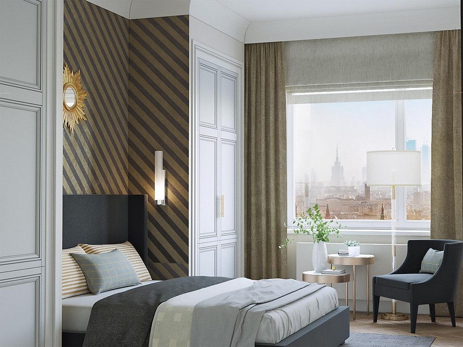 6-modern-neo-classical-style-interior-design-white-beige-blue-bedroom-arm-chair-coffee-table-stripy-diagonal-wallpaper-bed-in-recess-upholstered-tall-headboard-two-symmetrical-wardrobes-closets-sunburst-mirror