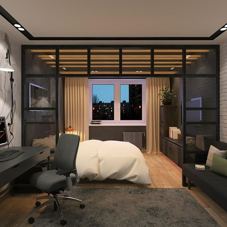 7-1-bedroom-interior-design-loft-style-bachelor's-pad-lounge-home-office-work-area-desk-wheeled-chair-glass-partition-wall-faux-concrete-texture-rug-brick-wall-beige-curtains-gray-light-wood-floor
