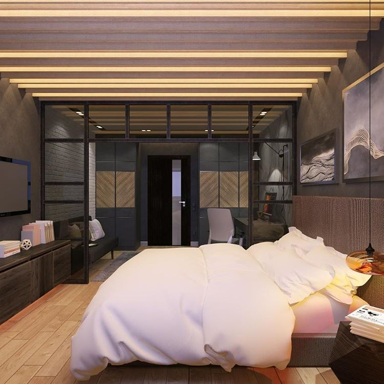 7-2-bedroom-interior-design-loft-style-bachelor's-pad-home-office-work-area-desk-glass-partition-wall-faux-brick-wall-gray-light-wood-floor-LED-lights-architectural-ceiling-decor-TV-stand