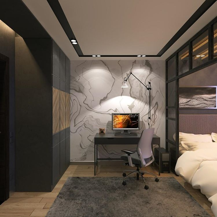 7-5-bedroom-interior-design-loft-style-bachelor's-pad-home-office-work-area-desk-wheeled-chair-glass-partition-wall-faux-concrete-texture-rug-gray-light-wood-floor-built-in-closet