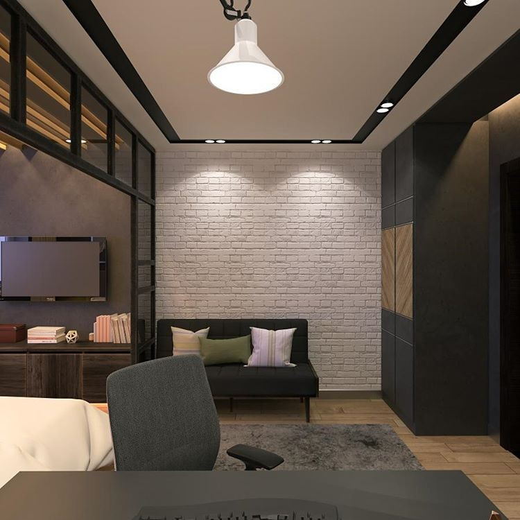 7-6-bedroom-interior-design-loft-style-bachelor's-pad-lounge-glass-partition-wall-faux-concrete-texture-rug-brick-wall-gray-light-wood-floor-built-in-closet-herringbone-wood-decor
