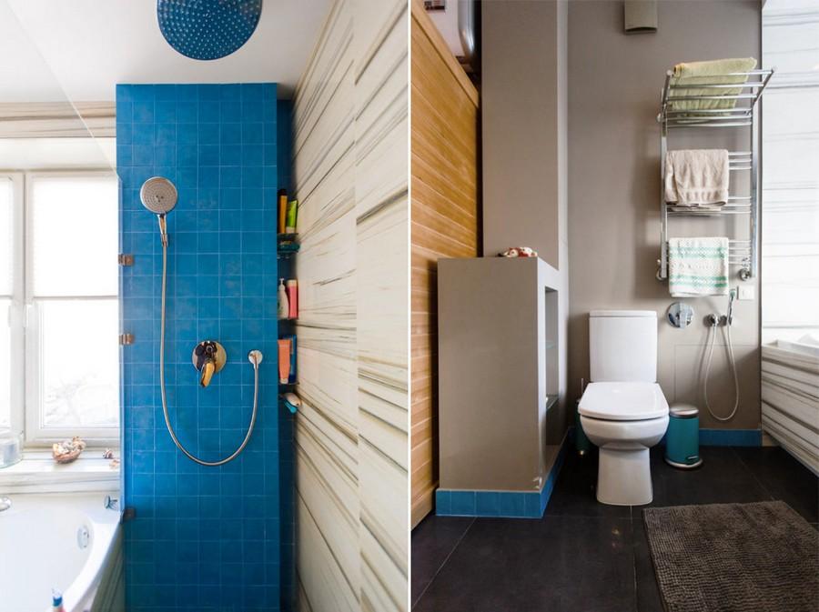 7-modern-bathroom-interior-design-white-faux-marble-wall-tiles-acrylic-bathtub-shower-cabin-azure-blue-square-tiles-gray-painted-walls-towel-racks-recessed-glass-shelves-toilet-rug-ceramic-granite-floor
