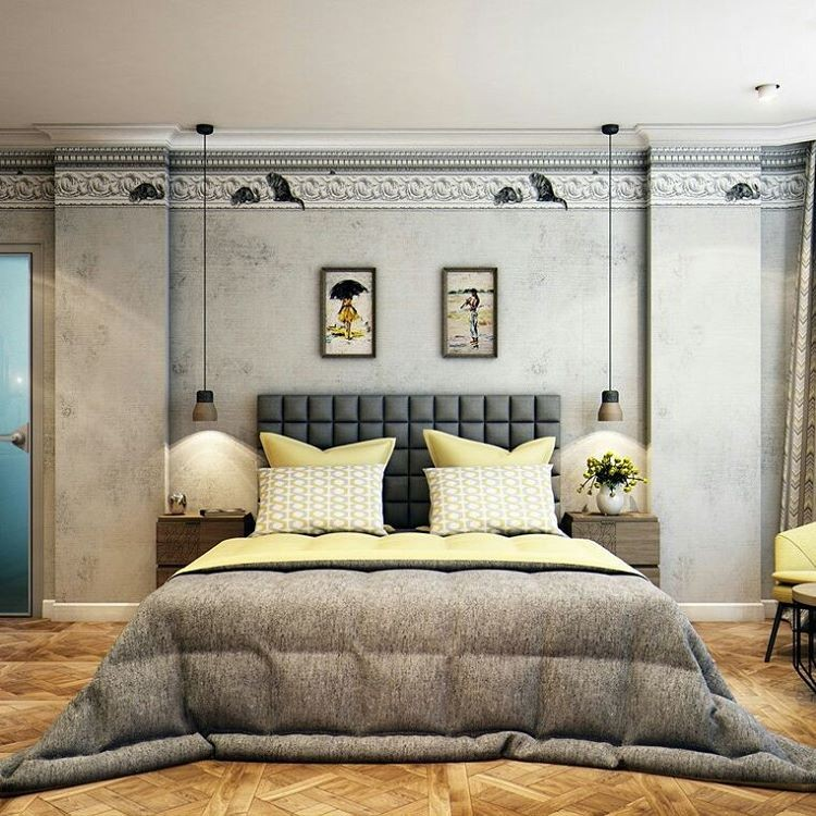 8-3-bedroom-interior-design-contemporary-style-gray-and-pale-yellow-upholstered-bed-headboard-classical-crown-moldings-light-modular-parquet-nightstands-suspended-lamps