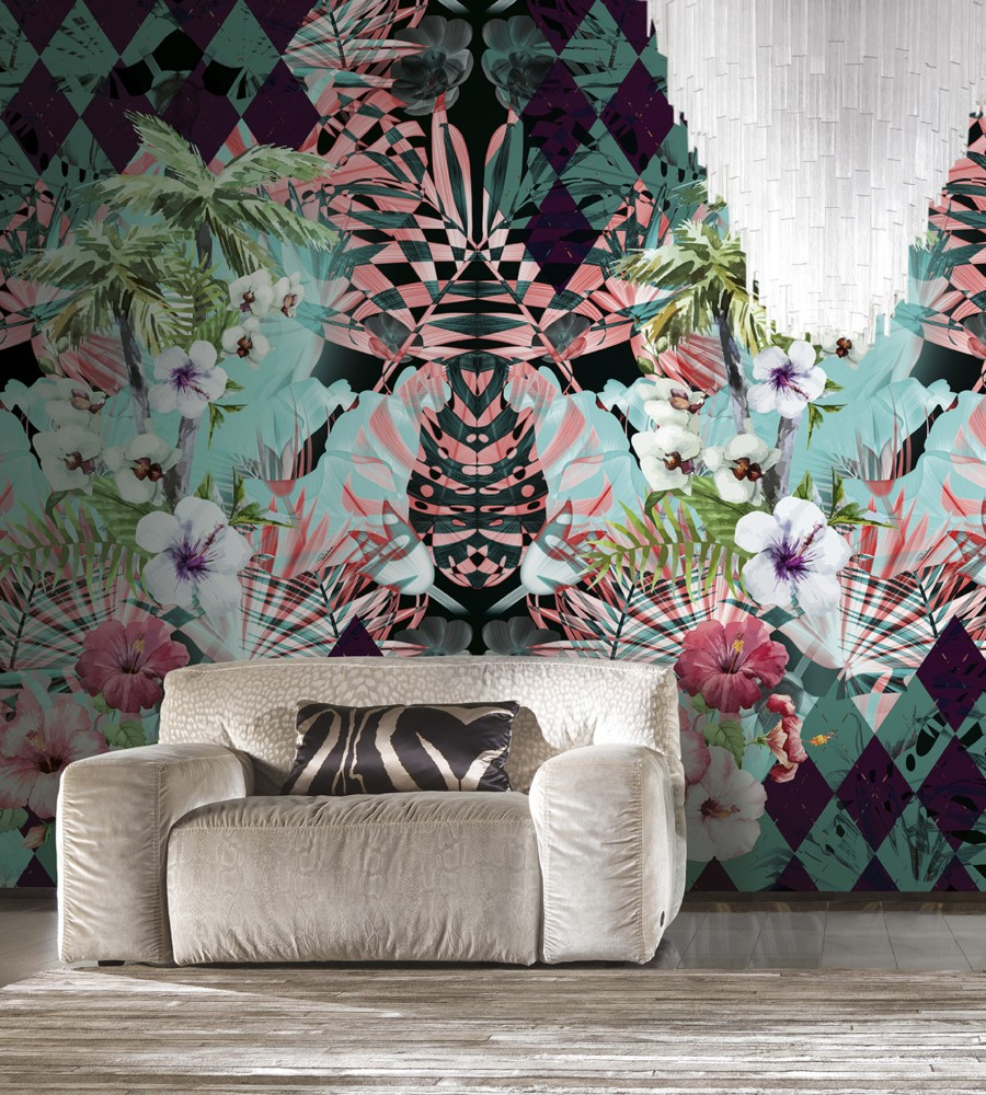 8-5-Roberto-Cavalli-Home-Interiors-new-collection-of-contemporary-style-furniture-at-Salone-de-Mobile-Exhibition-Milan-2017-gray-velvet-arm-chair-big-floral-wallpaper
