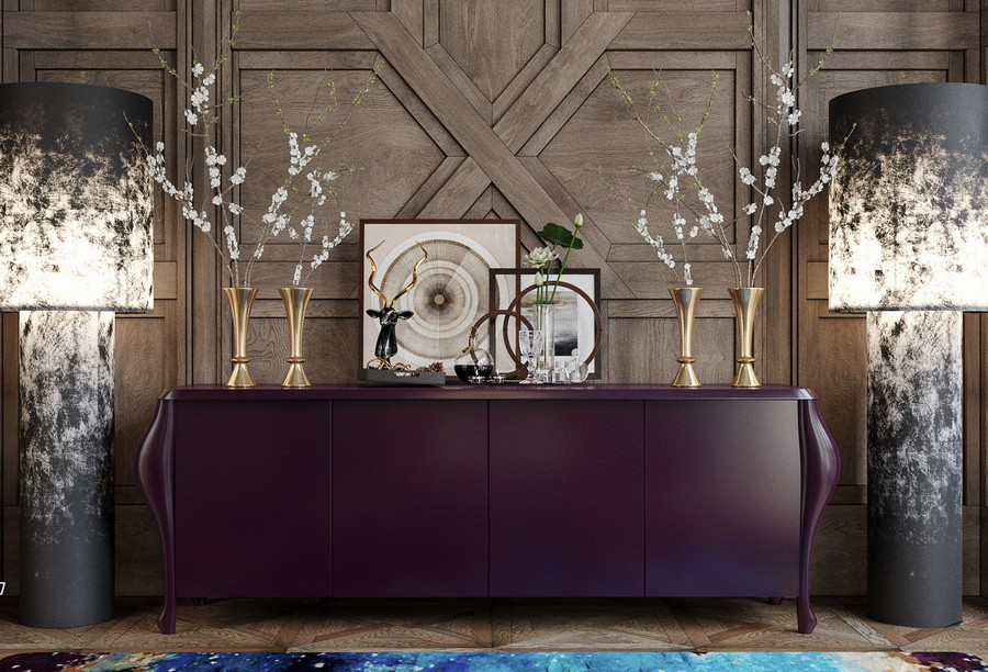 8-luxurious-dining-room-interior-design-dark-brown-cabinet-console-Ralph-Lauren-symmetrical-floor-lamps-with-abstract-pattern-rug-wooden-3D-wall-decor_cr_cr