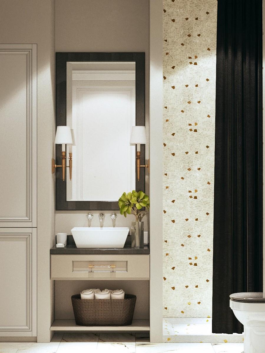 8-modern-neo-classical-style-interior-design-white-beige-and-brown-bathroom-shower-curtains-mosaic-tiles-wicker-basket-storage-top-mount-wash-basin-flowers-sconces-closet-wardrobe-mirror-drawers