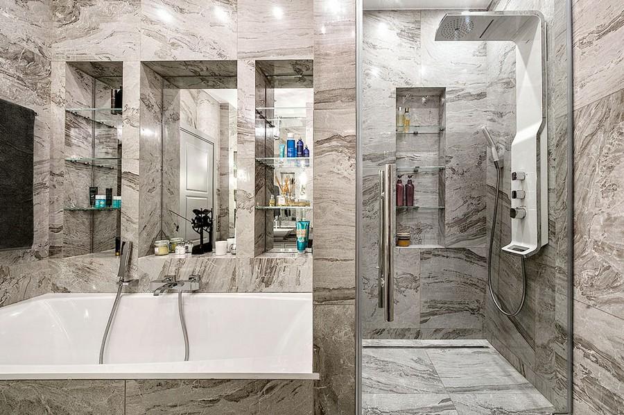 8-monochrome-gray-bathroom-interior-faux-stone-texture-ceramic-granite-wall-floor-tiles-art-deco-style-bathtub-walk-in-shower-cabin-recessed-mirrored-glass-shelves-for-accessories
