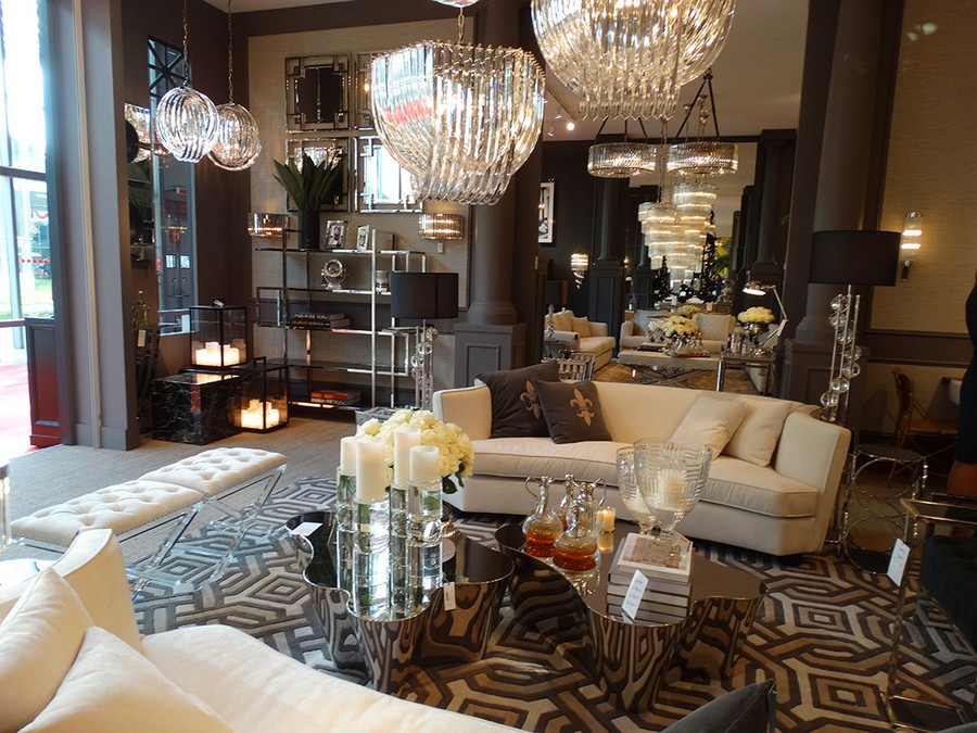 9-1-Eichholtz-new-collection-of-contemporary-style-furniture-at-Salone-de-Mobile-Exhibition-Milan-2017-beige-sofas-mirrored-glass-coffee-table-chandeliers-bookshelves