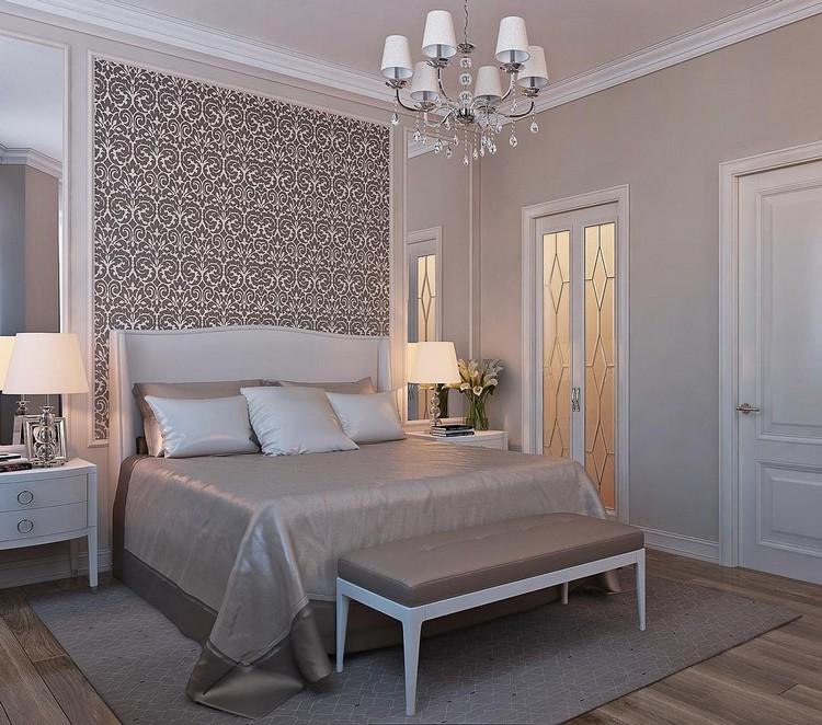 9-bedroom-interior-design-pastel-light-gray-beige-white-neo-classical-style-bedside-lamps-nighstands-elegant-ottoman-beautiful-wallpaper-glass-door-geometrical-rug