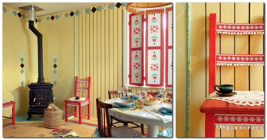 9-country-style-living-dining-room-interior-design-summer-house-yellow-wooden-planks-walls-stove-stenciled-painted-furniture-window-shutters-rustic-ornaments-bright-red-blue-chair-trimming-DIY-idea-fringed-knitted