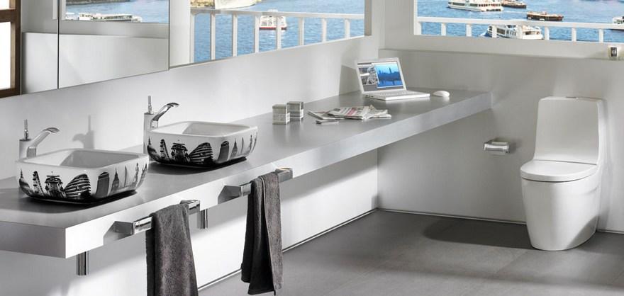 0-Roca-bathroom-urban-style-interio-design-painted-top-mounted-wash-basins-sinks-toilet-long-countertop-double