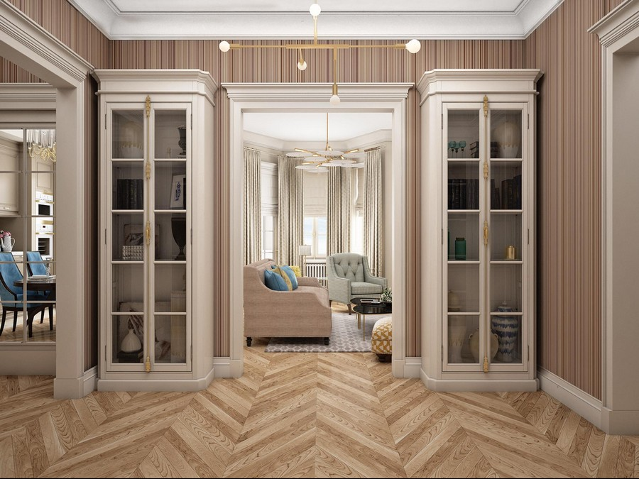 0-contemporary-neo-classical-interior-design-American-style-furniture-beige-stripy-wallpaper-symmetrical-cupboards-corridor-herringbone-parquet-floor-brass-lamp-cornices-moldings-crown