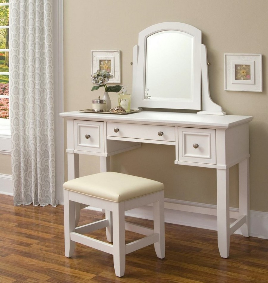 0-dressing-table-white-wooden-traditional-design-mirror-wall-art-three-drawers-padded-stool