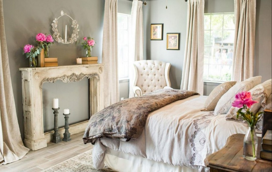 0-pastel-pink-gray-vintage-style-bedroom-candlesticks-candles-flowers-arm-chair-two-windows-curtains-bed-romantic-aged-interior-design-faux-fireplace-ideas