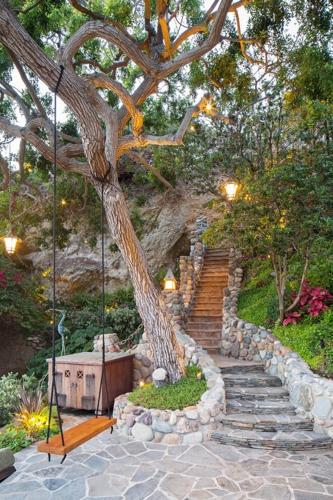 1-1-beautiful-garden-swing-rope-wooden-seat-big-tree-lights-lanterns-stone-path-walkway