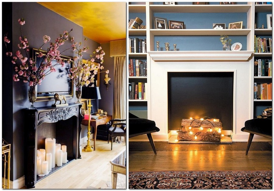 1-1-tall-candles-black-wall-firewood-log-with-Christmas-lights-faux-fireplace-ideas