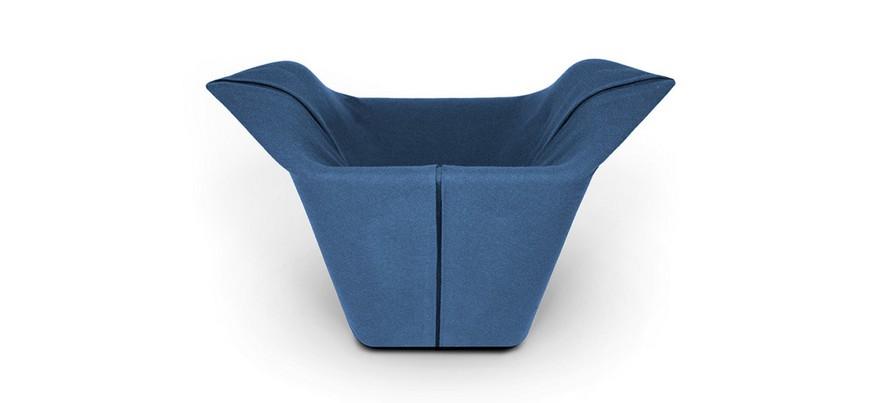 1-Garment-design-by-Benjamin-Hubert-minimalistic-minimalist-style-furniture-blue-arm-chair-of-non-standard-shape-contemporary