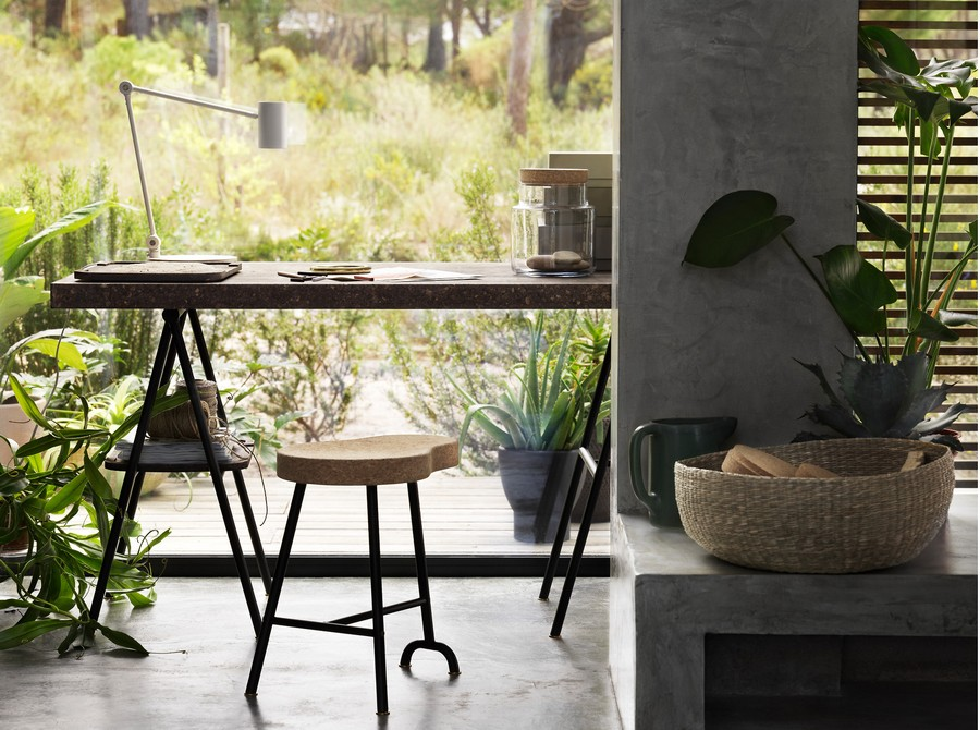 1-IKEA-Sinnerlig-collection-dining-table-desk-and-stool-with-cork-top-eco-friendly-furniture-cork-wood-home-decor-accessories
