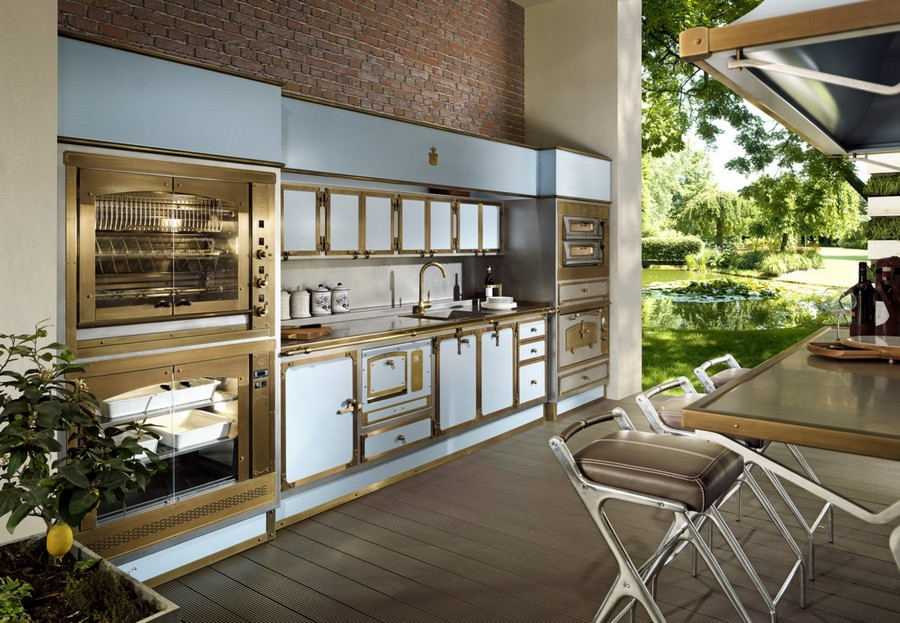 1-Pacific-Light-Blue-kitchen-suite-set-by-Officine-Gullo-Italy-metal-burnished-stainless-steel-cabinets-worktop-brass-trims-island-bar-stools-professional-fry-top-barbecue-cover-double-oven-dish-heater-pizza-rotisserie
