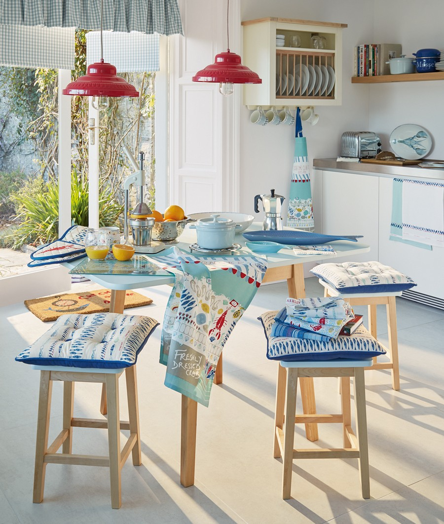 1-beautiful-kitchen-with-panoramic-windows-white-walls-light-interior-design-red-pendant-lamps-blue-accents-open-racks-light-wood-table-stools-cozy-Mediterranean-style